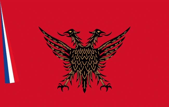 דגל של רפובליקת Korçë ששלטה במדינה לפני הכרזת העצמאות האלבנית