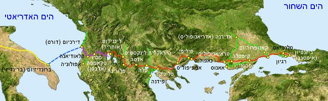 מפת ויה אגנטיה - המסלול בסגול מסמן את השביל באלבניה
